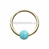 Gold Synthetic Turquoise Bead Captive Ring 16ga Cartilage Tragus Daith Helix Rook
