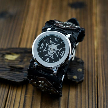 Skull & Cross Leather Watch