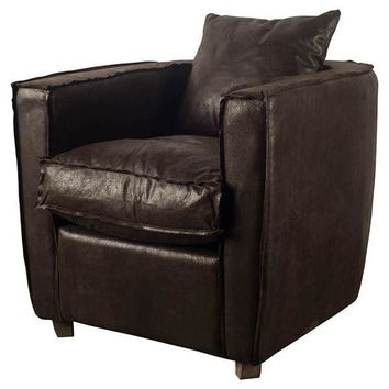 WAFAI CHAIR DARK BROWN LEATHER