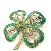 Sterling Shamrock Brooch, Four Leaf Clover Pin, Green Enamel & Vermeil, St. Patricks Irish Woodland Jewelry, Vintage German Jewelry