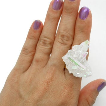 Angel Aura Crystal Ring, Opal Aura Crystal Cluster Ring, Statement Ring