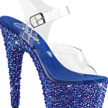 Rhinestone Encrusted 7 Inch/ Ankle Strap Stripper Shoe