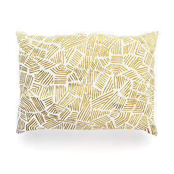 "Pom Graphic Design ""Inca Gold Trail"" Yellow Brown Oblong Pillow"