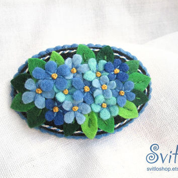 Brooch Flower Bouquet | Light Blue Flowers Forget-me-not | Felt Brooch | Textile Art | Jewelry | Pin | Broach | Light Blue, Black, Green