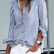 White and Blue Striped Long Sleeve Blouse