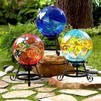 Colorful Glass Balls on Stands