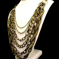 Big and Bold Chains Necklace in Antique Brass