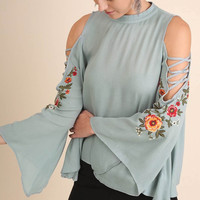 Floral Embroidery Sleeve Blouse