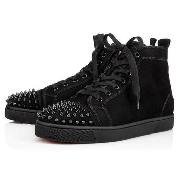 CREYNW6 Sale Christian Louboutin Cl Lou Spikes Men's Flat Black/black/bk Suede Shoes 1140458b049