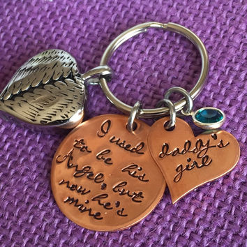 Memorial Jewelry - Cremation Jewelry  - Urn Keychain - Dad Memorial  - I used to be his angel now hes mine - Remembrance - Keepsake - Sympat