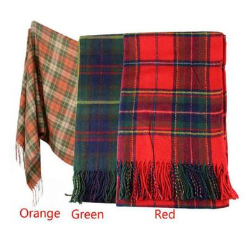ONETOW Hot Marketing New Women Winter Infinity Blanket Oversized Shawl Plaid Check Tartan Scarf Wrap May4