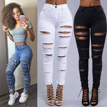 Skinny Jeans Women Denim Pants Holes Destroyed Pencil Pants Casual Trousers Black White Stretch Ripped Jeans S-2XL