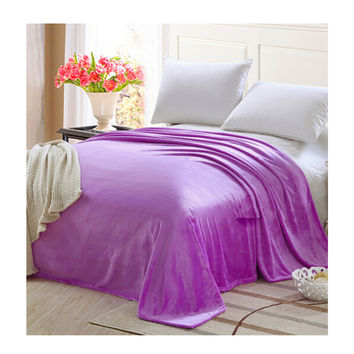Plush Soft Queen Soild Color Micro fleece Bed Throw Blanket  Purple