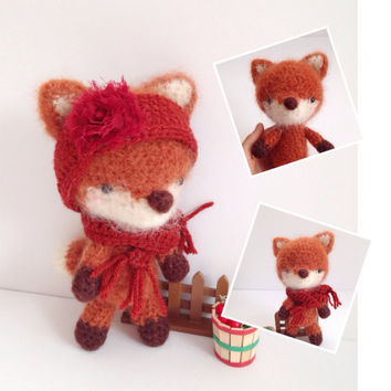 Amigurumi Fox Crochet Fox Crochet Doll Crochet Fuzzy Fox with Headband and Scarf Toy Plush Kids Toy Kawaii Doll Holiday Gift Idea