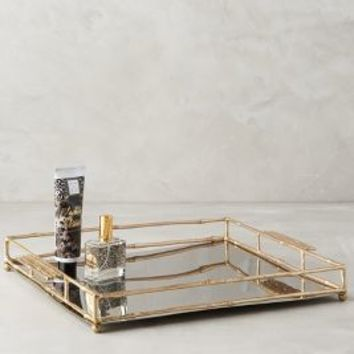 Brass Bamboo Tray by Anthropologie in Gold Size: One Size House & Home
