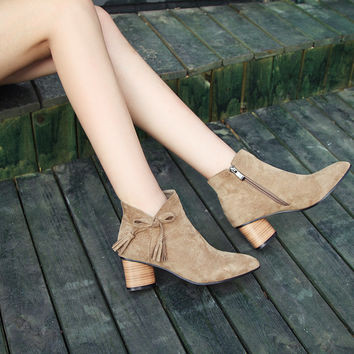 Ankle Boots for Women Medium Heel Tassel Sheep Suede Autumn Winter Pointed Toe Shoes Woman 7426