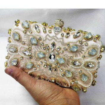 Newest Sparkle Designer Crystal Evening Bag Black Luxury Satin Clutch Purse With Chain Female Wedding Bridal Beaded Purse
