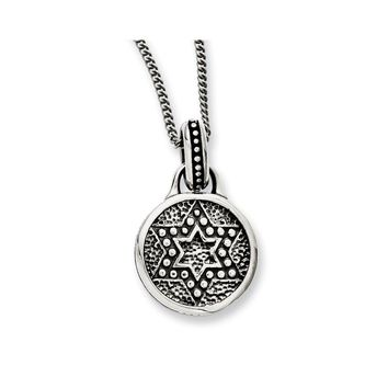 Stainless Steel Antiqued & Polished Star of David Necklace
