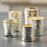 Mercury Glass Votives - Assorted Set of 5