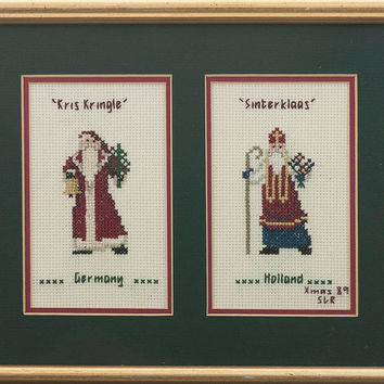 Kris Kringle Cross Stitch Wall Art Christmas Decor Germany and Sinterklass Holland 1989 Xmas Needlework Wall Hanging Kitsch Holiday Decor