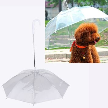 Clear Pet Dog Umbrella PE Plastics Small Dog Umbrella Raincoats Gear with Dog Leads Keeps Pet Dry Comfortable in Rain Snowing