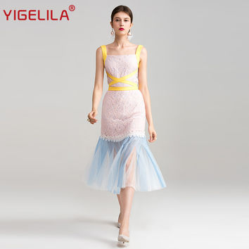 YIGELILA 2017 Latest Summer Women Fashion Patchwork Square Neck Sleeveless Sheath Package Hip Mid Length Mesh Lace Dress 62813
