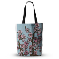 """Art Love Passion """"Cherry Blossom Day"""" Floral Illustration Cutting Board Everything Tote Bag"""