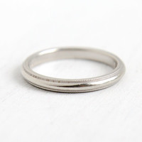 Vintage Mid-Century 14k White Gold Wedding Band- Size 5 3/4 Milgrain Simple Ring, Dated 1961