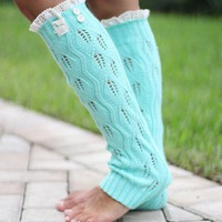 Mint Knit Leg Warmers