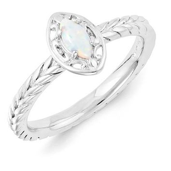 Sterling Silver Stackable Expressions Created Opal Marquise Ring