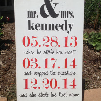 Personalized Wedding Sign - Wedding Gift, Bridal Shower Gift,  Engagement Gift, 1st  Anniversary GiftImportant Dates Sign,  Special Dates