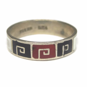 Vintage Mexican Sterling Enamel Greek Key Band Ring Size 5.5