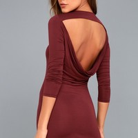 Kiss and Tell Burgundy Long Sleeve Backless Dress