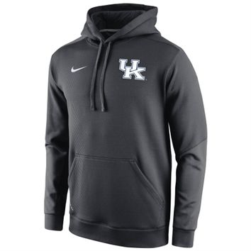 Mens Kentucky Wildcats Nike Anthracite 2014 Sideline KO Chain Fleece Therma-FIT Hoodie