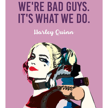 Harley Quinn Poster, Harley Quinn Art, Suicide Squad, Margot Robbie, Illustrations, Typography, Gift Idea, Wall Hanging Wall Art Decor