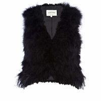 Black feather vest - vests / vests - coats / jackets - women