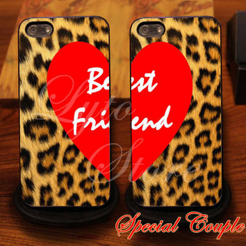 Best Friend Love With Leopard Skin Couple Design for iPhone 4, iPhone 4s, iPhone 5, Samsung Galaxy S3, Samsung Galaxy S4 Case