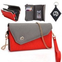 Samsung B7620 Giorgio Armani Wallet Crossbody Wristlet Clutch with ID, Credit Card and Money compartments. Includes one detachable chain and arm strap. Color: Red Grey + NuVur ™ Keychain:Amazon:Office Products