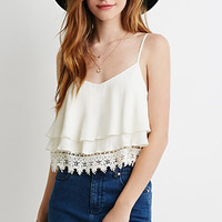 Layered Crochet Trim Cami