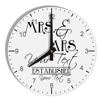 "Personalized Mrs and Mrs Lesbian Wedding - Name- Established -Date- Design 8"" Round Wall Clock with Numbers"