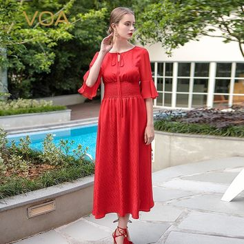 pure red flare sleeve silk jacquard dress plus size high waist solid vintage women cute maxi Dress