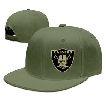 Oakland Raiders Salute To Service Logo Breathable Unisex Adult Womens Flat Brim Hats Mens Hip-hop Hats