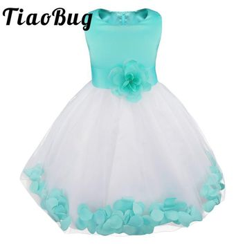 TiaoBug 2017 Baby Girls Flower Kids Tutu Princess Dress Girls Clothes for Bridesmaid Wedding Birthday Party Formal Occasion