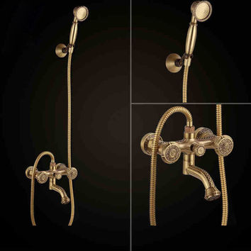 Free shipping Bathroom Bath Wall Mounted Carving Hand Held Antique Brass Shower Head Kit Shower Faucet Sets LJ10119