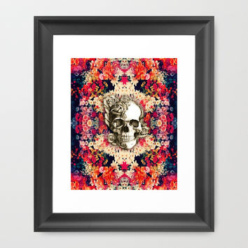 You are not here Day of the Dead Rose Skull. Framed Art Print by Kristy Patterson Design