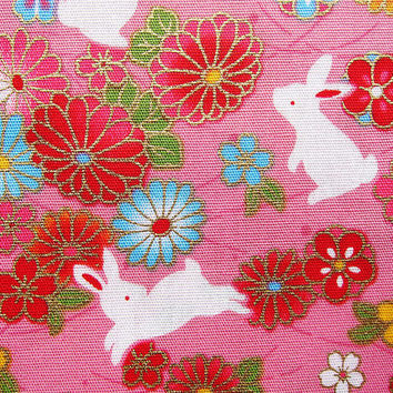 Oriental Rabbits on Pink - Animal Floral Cotton Fabric - Half Yard
