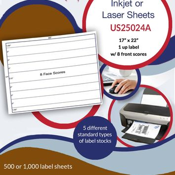 "US25024A - 17"" x 22"" Label Sheet with 8 face scores"