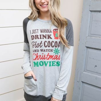 Grey Hot Cocoa & Christmas Movies Sweater