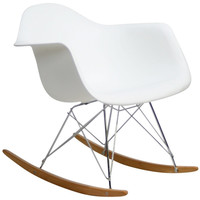 Mid Century Modern Plastic Molded Rocking Chair White