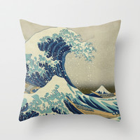 The Great Wave off Kanagawa Throw Pillow by TilenHrovatic